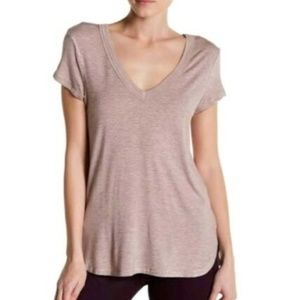 H By Bordeaux Pink Ribbed V-Neck Short Sleeve Top